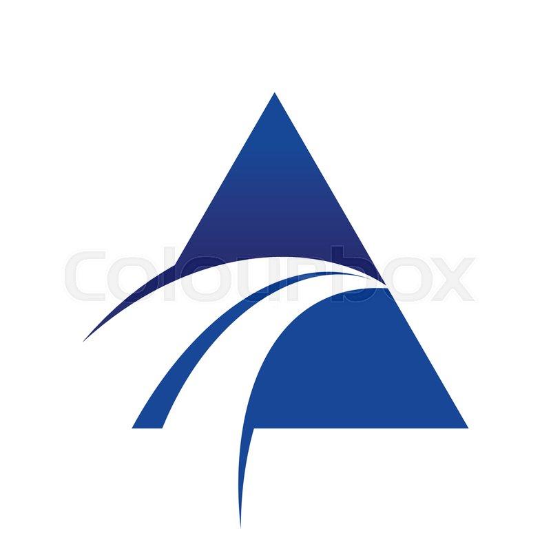 Blue Swoosh Cross Unique Triangle Vector Symbol Graphic Logo Design