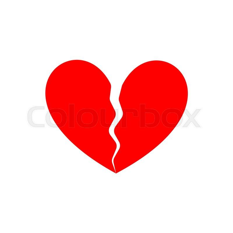 Broken Heart End Of Love Symbol Of Parting Stock Vector Colourbox