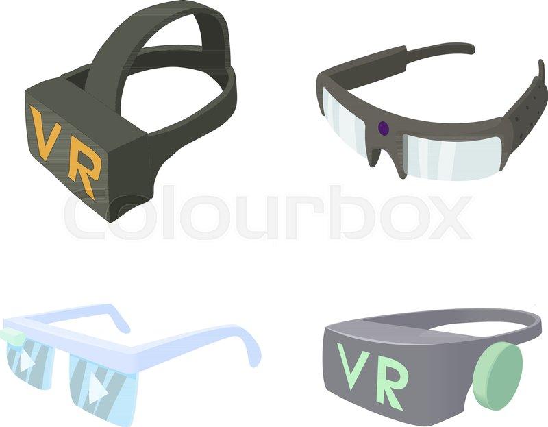 dce92eaee03 Vr glasses icon set. Cartoon set of vr ...