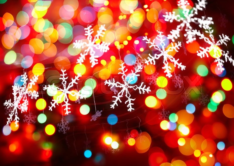 Christmas Background With Colorful Lights Stock Photo