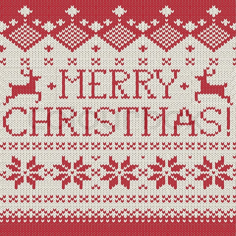 Merry Christmas Scandinavian Style Seamless Knitted Pattern With