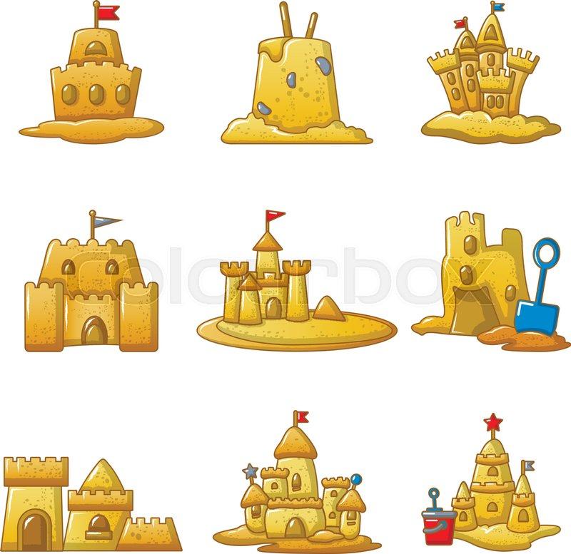 Sandcastle Beach Icons Set Cartoon Illustration Of 9 Sandcastle Beach Vector Icons For Web