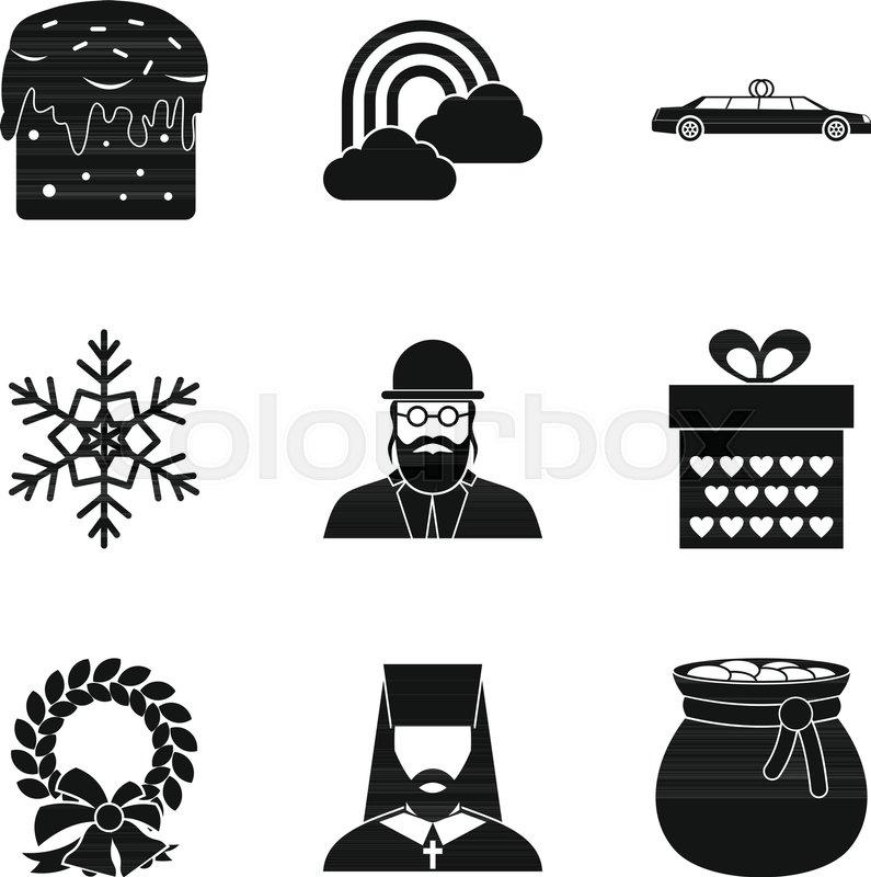 Religious Symbolism Icons Set Simple Set Of 9 Religious Symbolism
