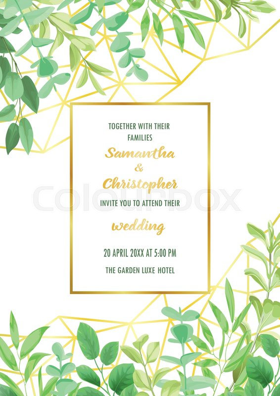 Floral wedding invitation with geometric gold frame herb bushes greenery botanical template with text place for invite greeting birthday card and covers vector filmwisefo