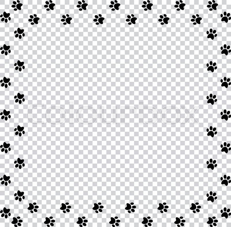 square frame made of black animal paw prints on