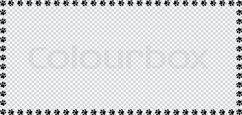 Rectangle frame made of black animal paw prints on transparent ...