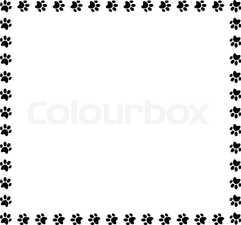Square frame made of black animal paw prints on white background ...