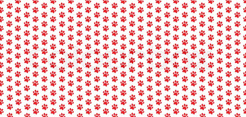 rectangle seamless pattern of red animal paw prints on white