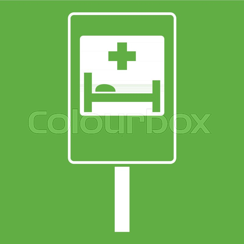 Symbol Of Hospital Road Sign Icon White Isolated On Green Background