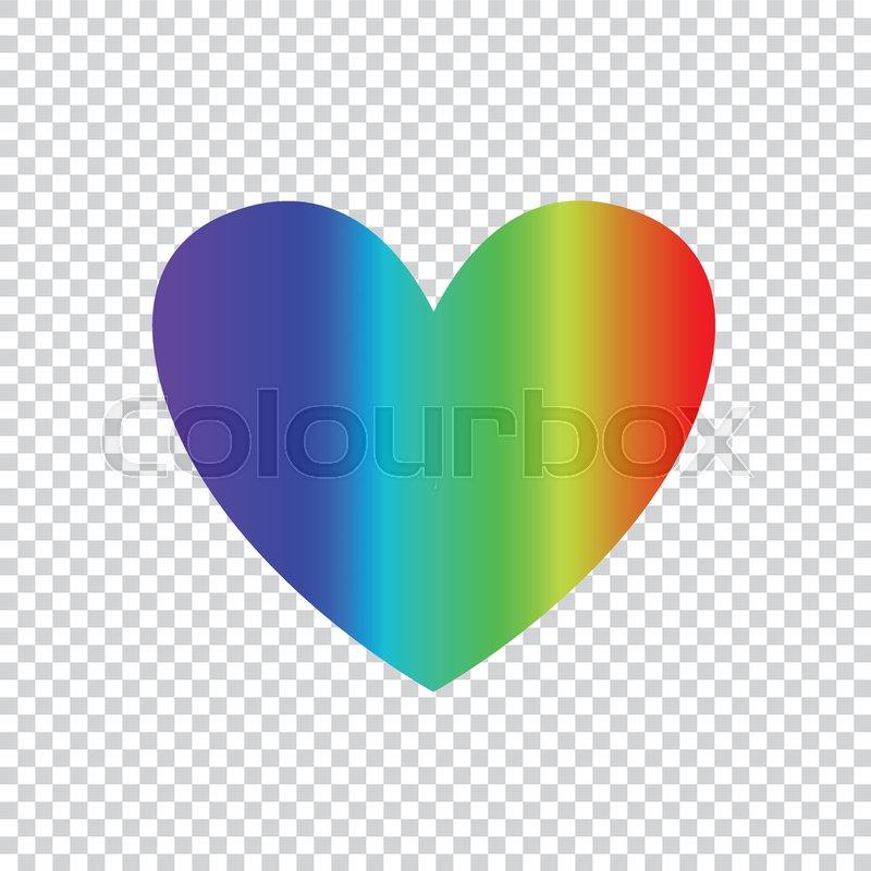 Vector Rainbow Multicolored Gradient Heart Icon Clip Art Isolated