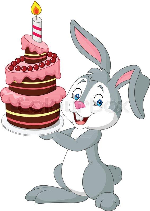 Vector Illustration Of Cartoon Rabbit Holding Birthday Cake Stock