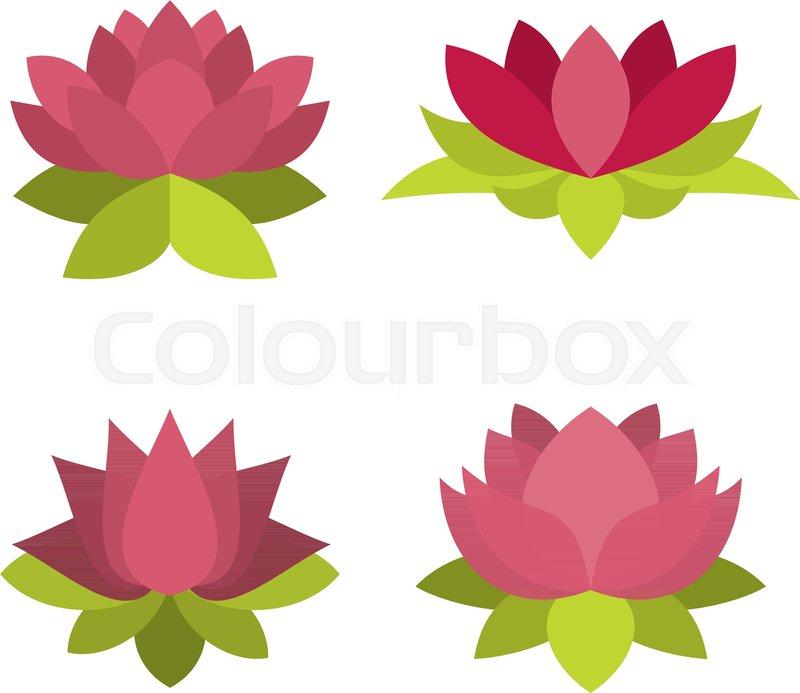lotus icon set flat set of lotus vector icons for web design rh colourbox com lotus vector design lotus victoria dr vancover bc