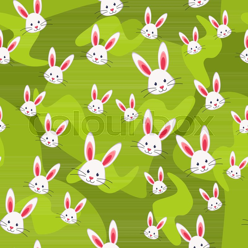 colorful seamless pattern rabbit grass background easter themed