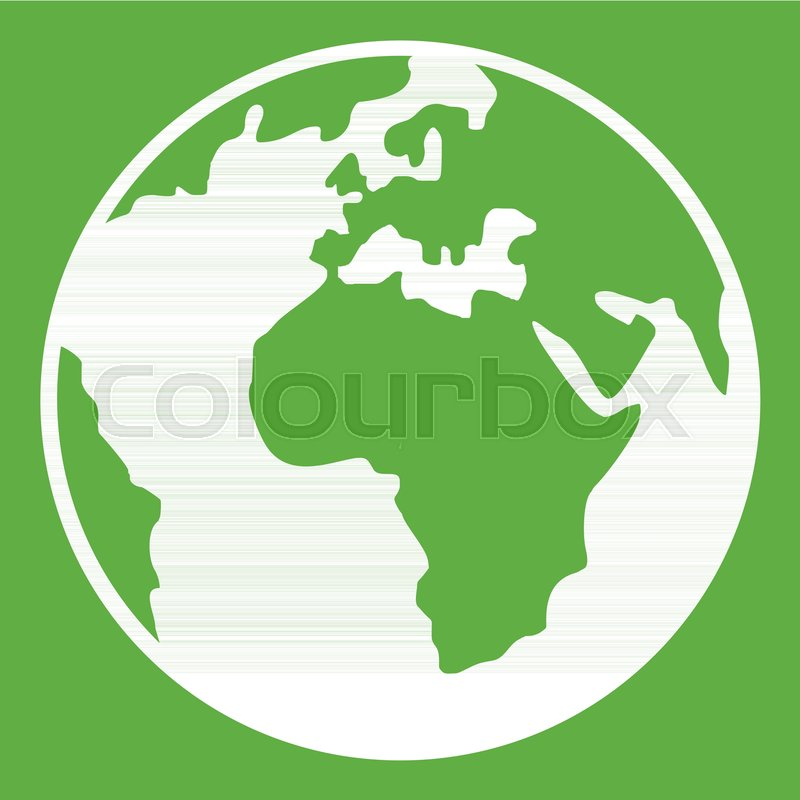 Earth globe icon white isolated on       Stock vector