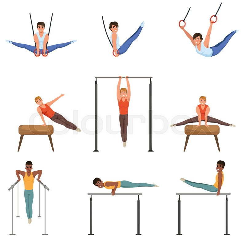 young guys training on various gymnastics apparatus rings pommel