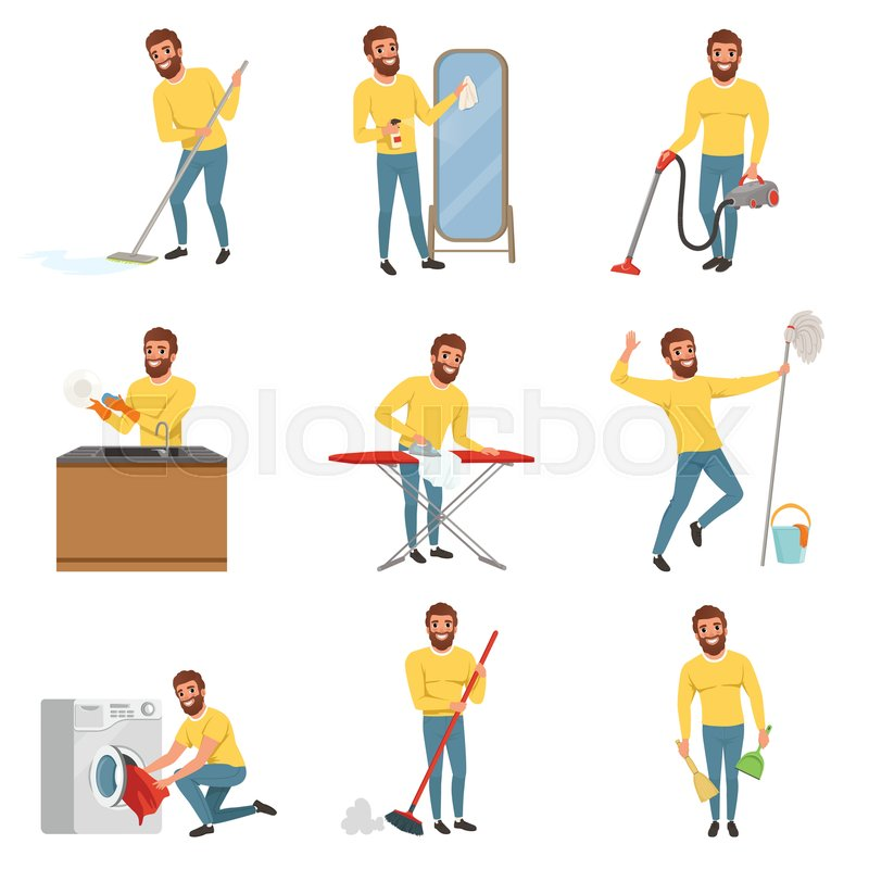 Guy Cleaning Kitchen: Bearded Man With Different Household Chores. Cleaning Floor With Mop And Vacuum Cleaner, Washing