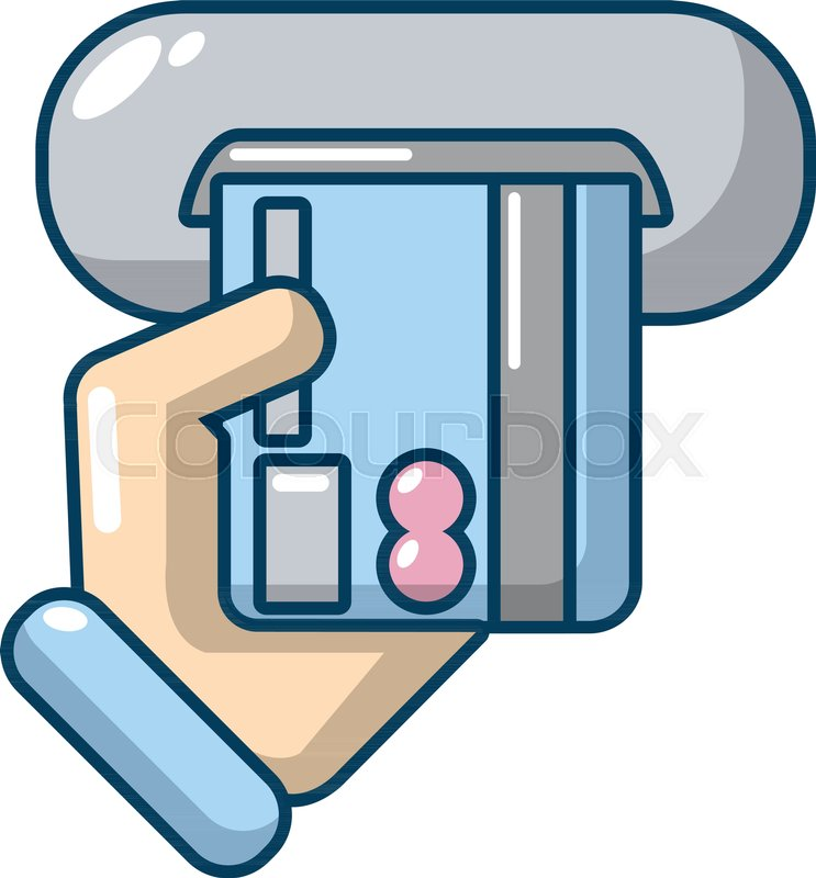 inserting credit card icon cartoon illustration of inserting credit