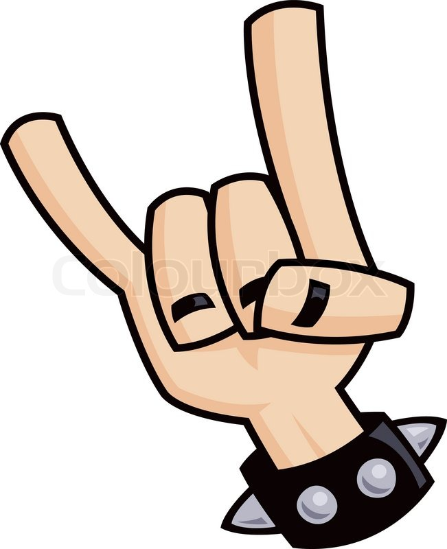 Heavy metal, rock and roll, devil horns hand sign with a ...