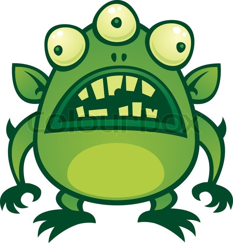 Cartoon illustration of an ugly green alien monster with three eyes