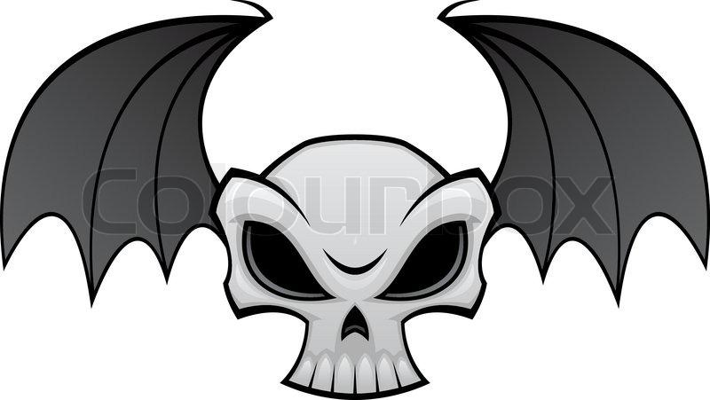 vector cartoon illustration of a skull with bat wings