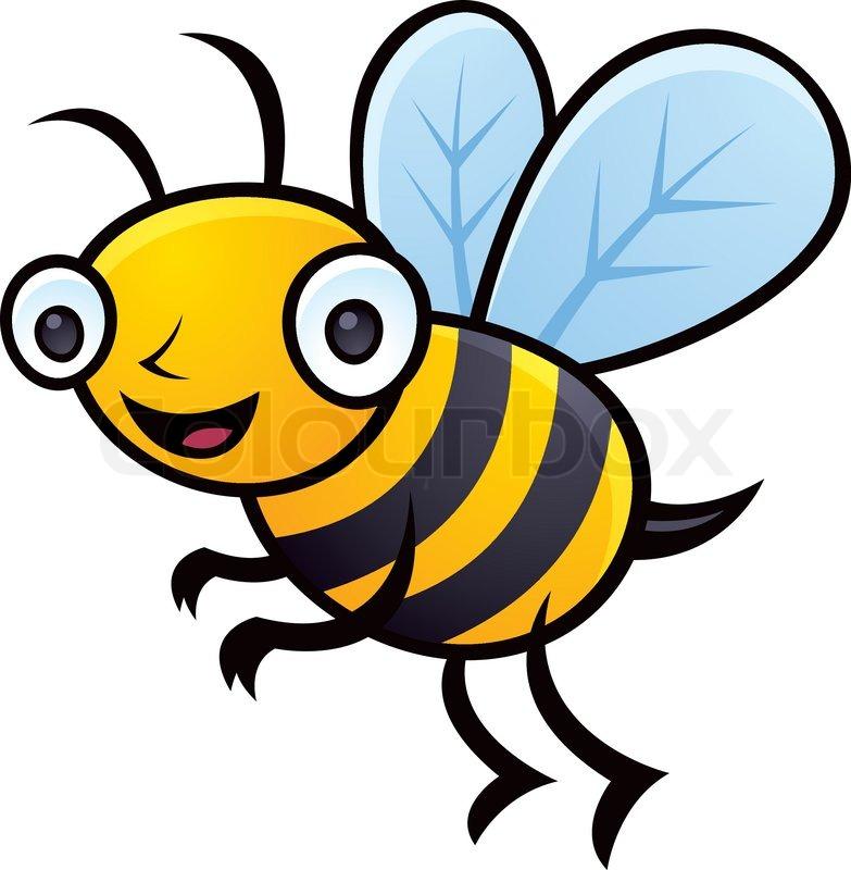 Cartoon Vector Illustration Of Happy Little Bumblebee Flying Bee Maskot