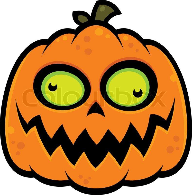 Cartoon illustration of a crazy pumpkin jack o lantern with green cartoon illustration of a crazy pumpkin jack o lantern with green eyes stock vector colourbox thecheapjerseys Gallery