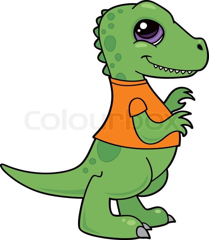 Vector cartoon illustration of a green baby Tyrannosaurus Rex dinosaur  wearing an orange shirt