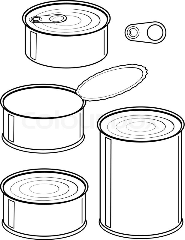 Set of cans - canned food - isolated illustration black on ...