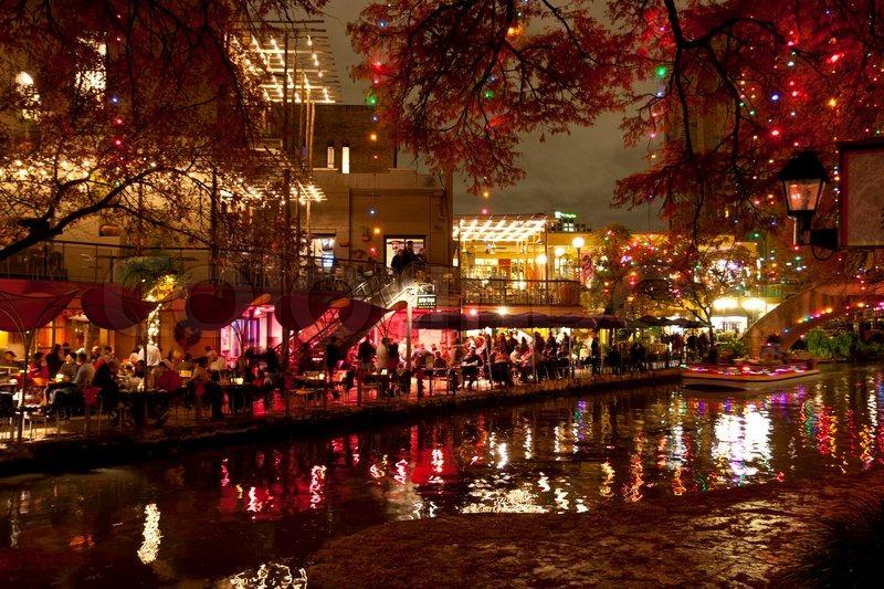 Christmas Lights At Riverwalk In San Antonio, Texas, Usa | Stock