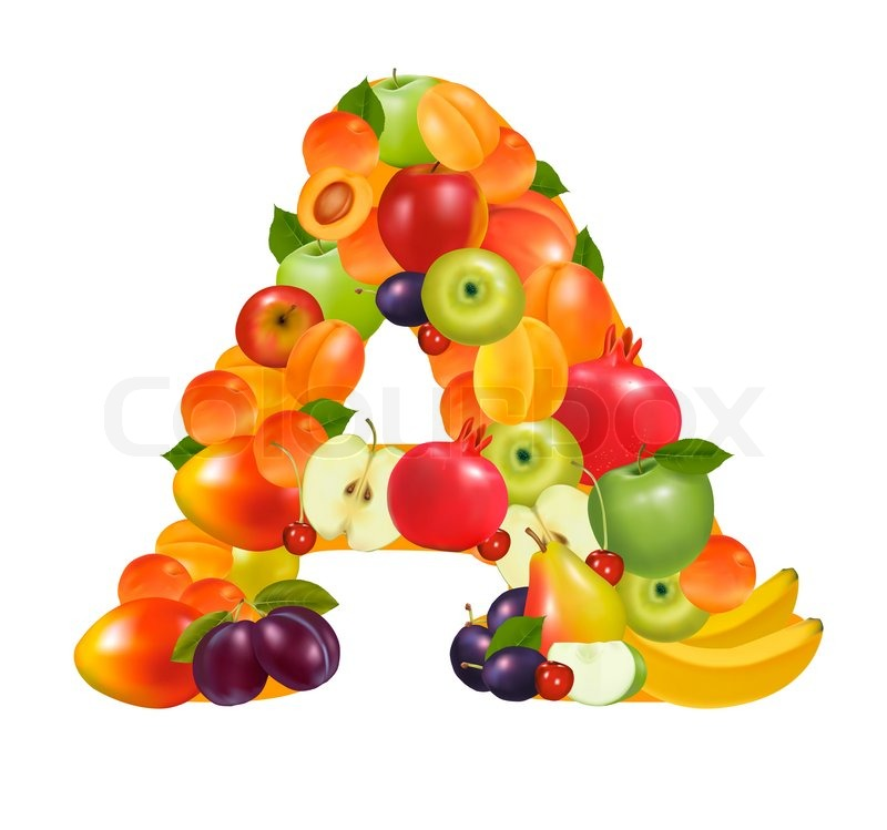 Letter A Made From Fruit