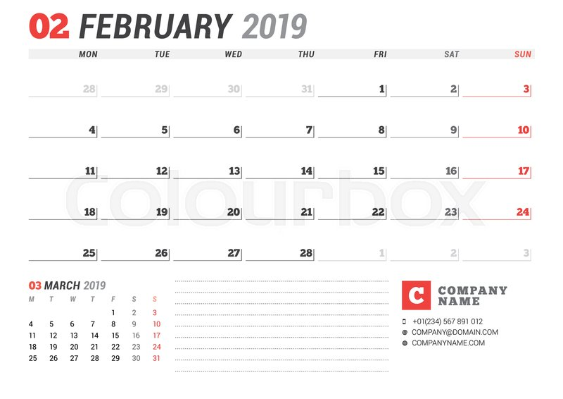 Calendar template for february 2019 business planner stationery calendar template for february 2019 business planner stationery design week starts on monday 2 months on the page vector illustration stock vector accmission Image collections