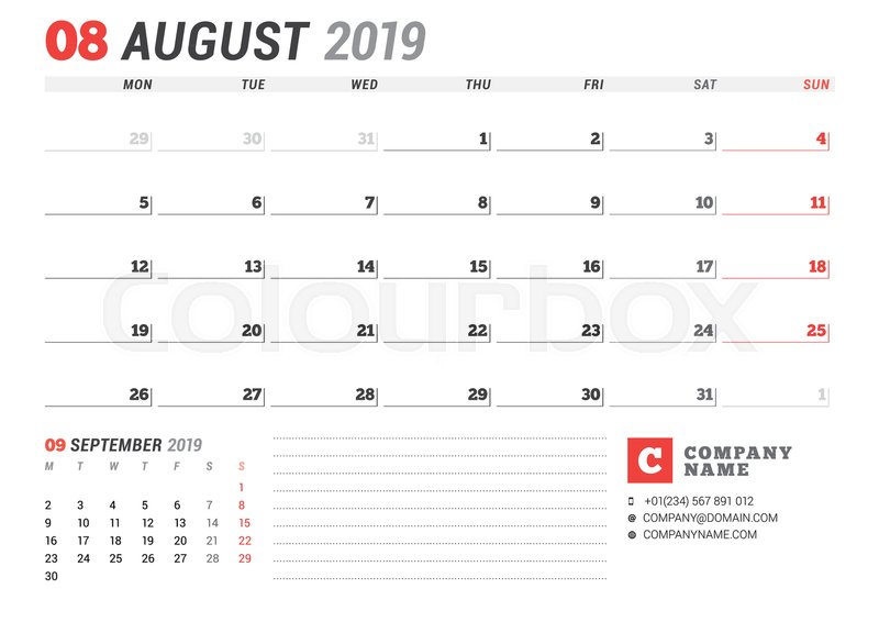 Calendar template for august 2019 business planner stationery calendar template for august 2019 business planner stationery design week starts on monday 2 months on the page vector illustration stock vector friedricerecipe Choice Image