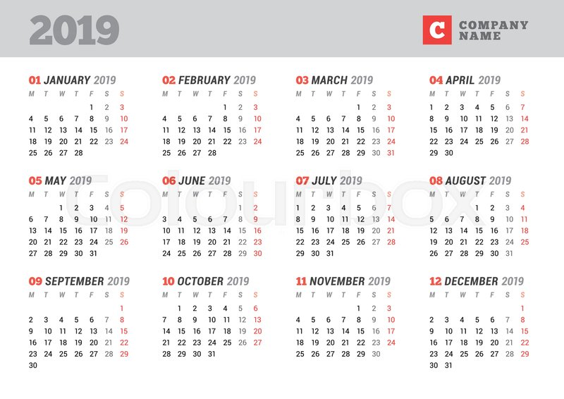 Calendario 2019 Week Number.Week Calendar 2019 Vapha Kaptanband Co