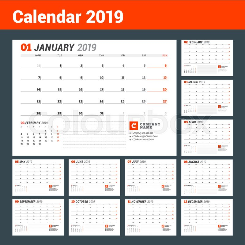 Calendar template for 2019 year business planner stationery design calendar template for 2019 year business planner stationery design week starts on monday set of 12 months vector illustration stock vector wajeb Images