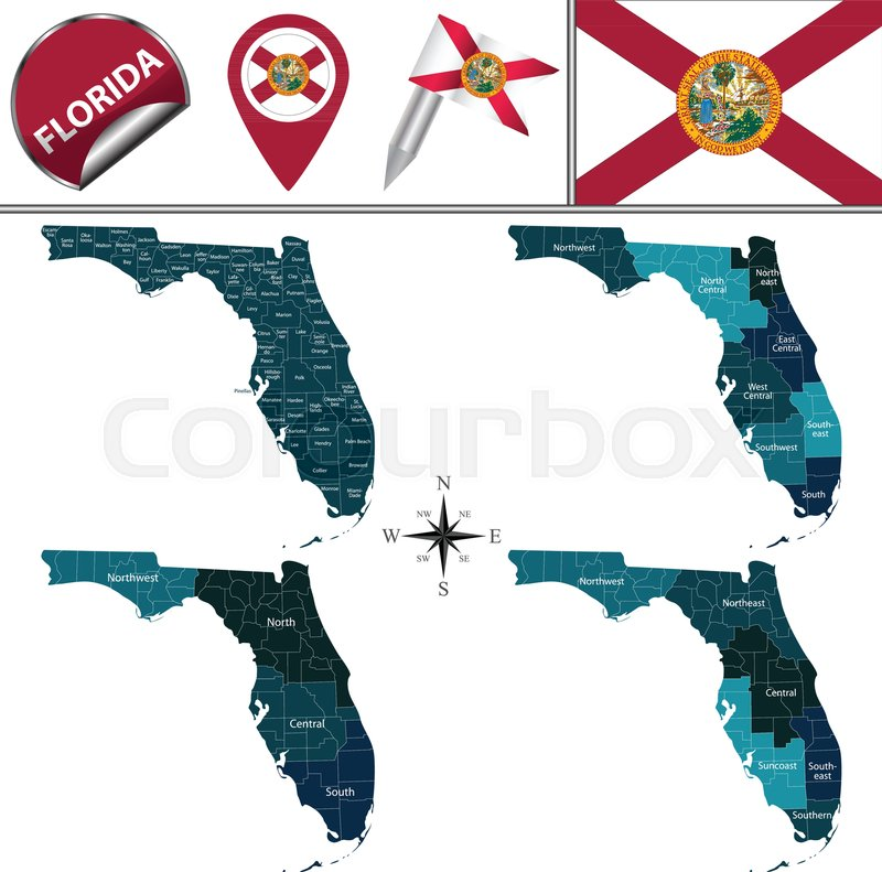 Vector Map Of Florida With Named Stock Vector Colourbox