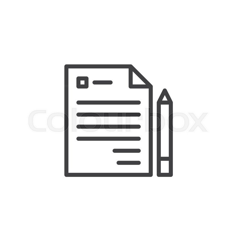 Business Contract Document Outline Icon Linear Style Sign For