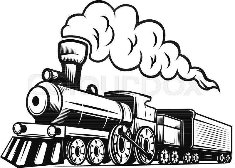 Retro Train Illustration Isolated On White Background Design Element For Logo Label Emblem