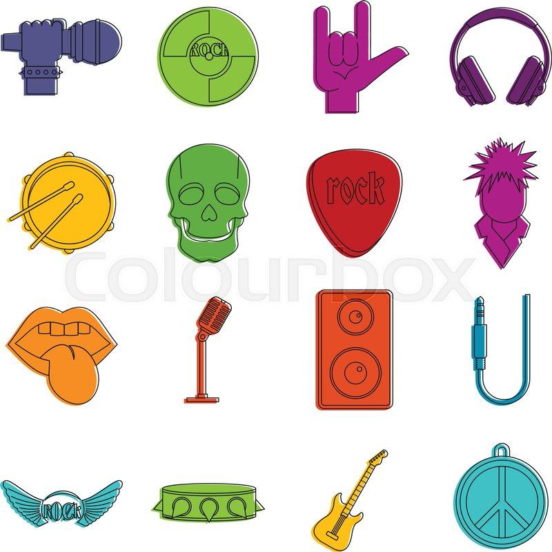 Rock Music Icons Set Doodle Stock Vector Colourbox