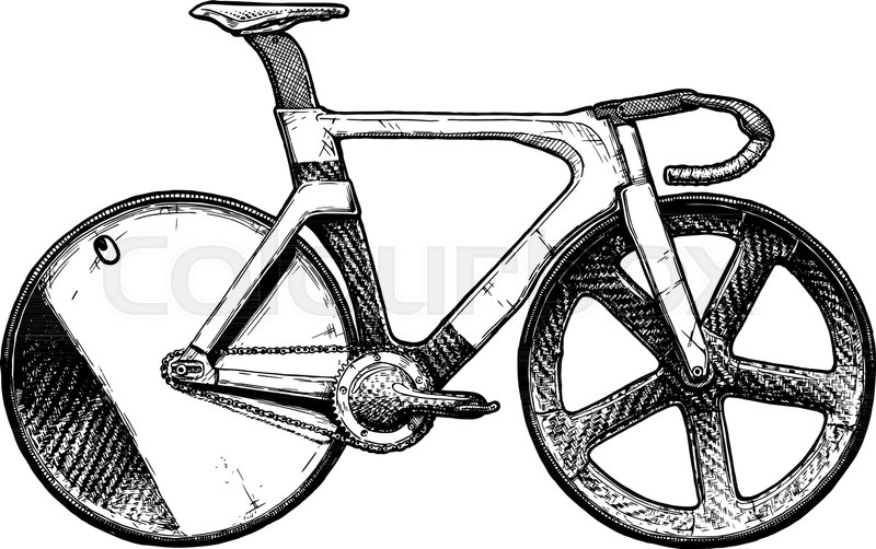 Vector ink hand drawn illustration of Track bicycle in vintage ...