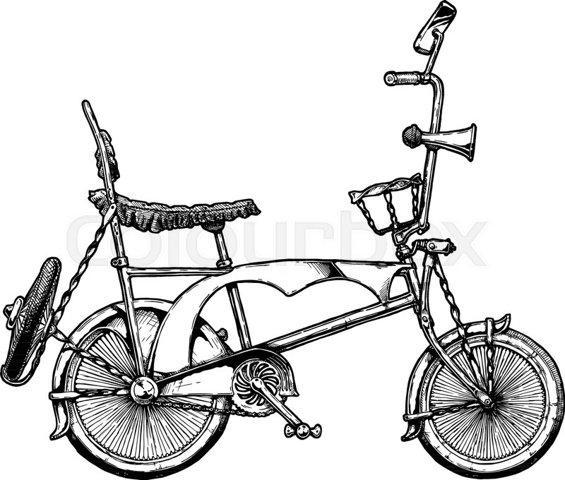 Vector ink hand drawn illustration of Lowrider bicycle in vintage ...