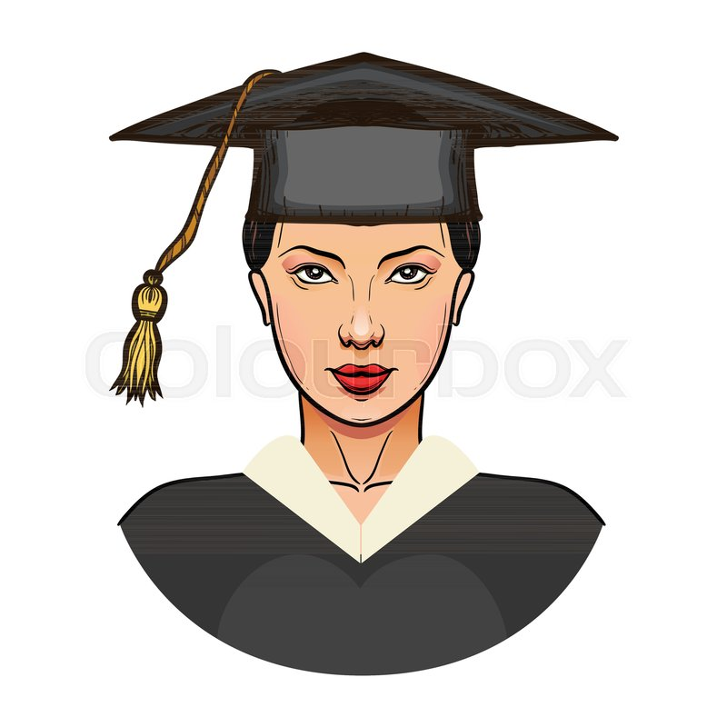 Young woman in graduation cap isolated on white. Girl graduate ...