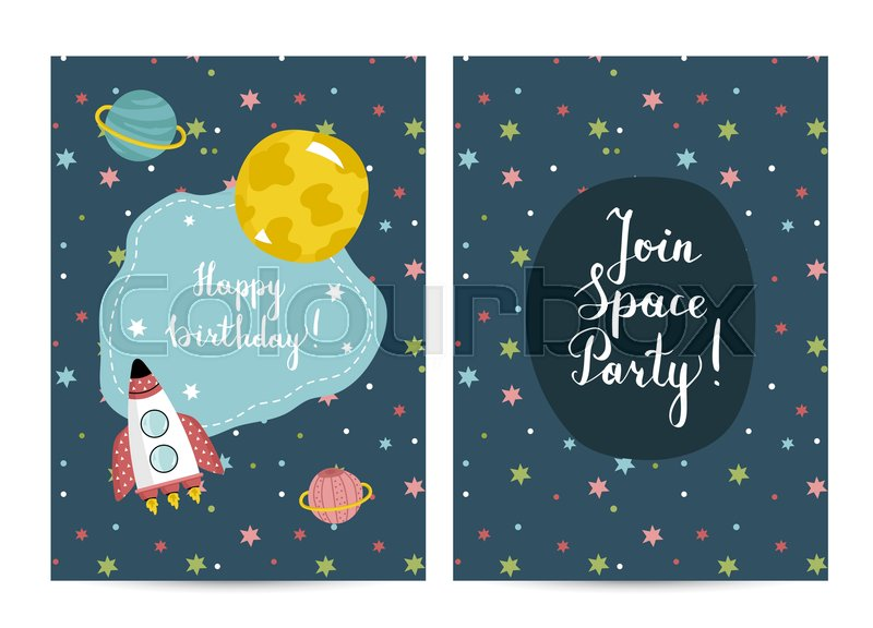 Happy Birthday Cartoon Greeting Card On Space Theme Spaceship