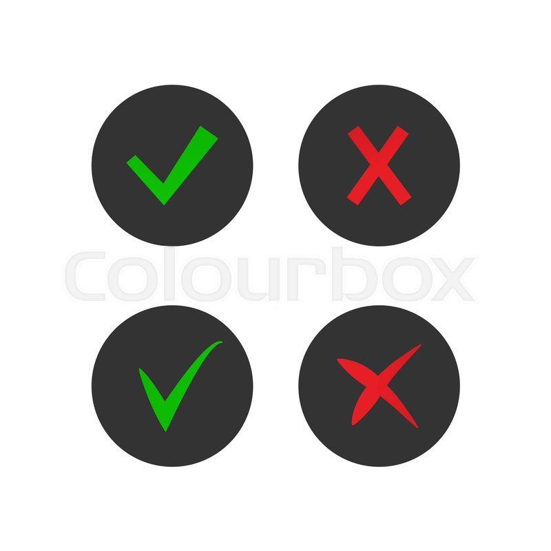 Set On Tick And Cross Icons Accept And Decline Symbols Stock