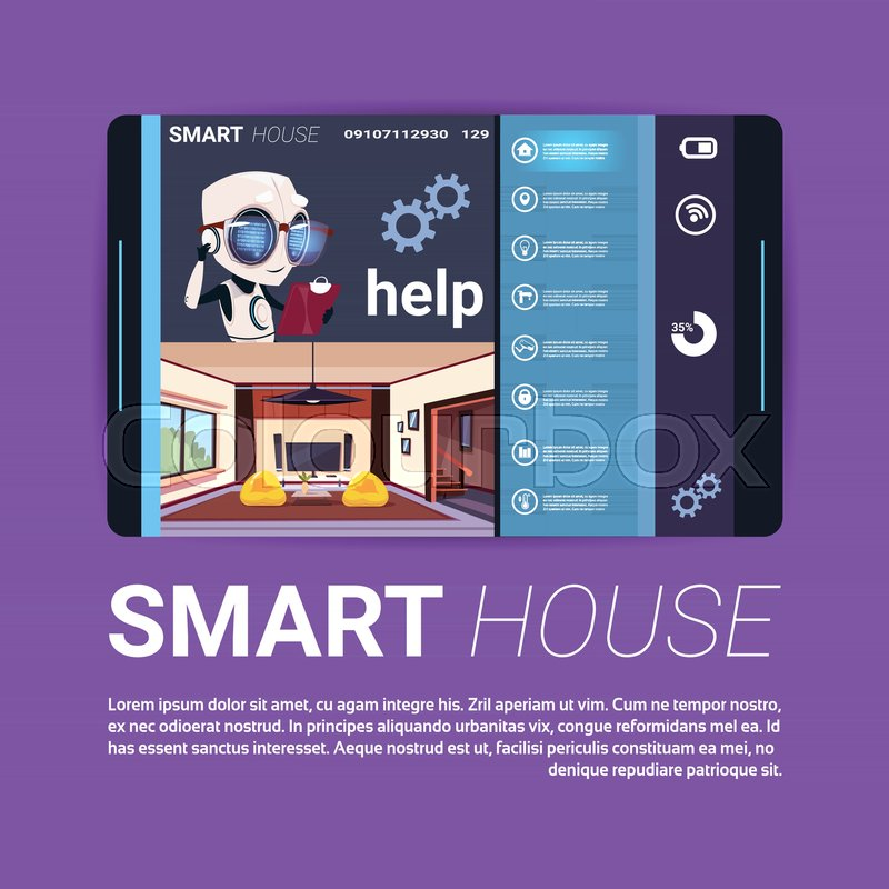 Digital Tablet With Smart House     | Stock vector | Colourbox