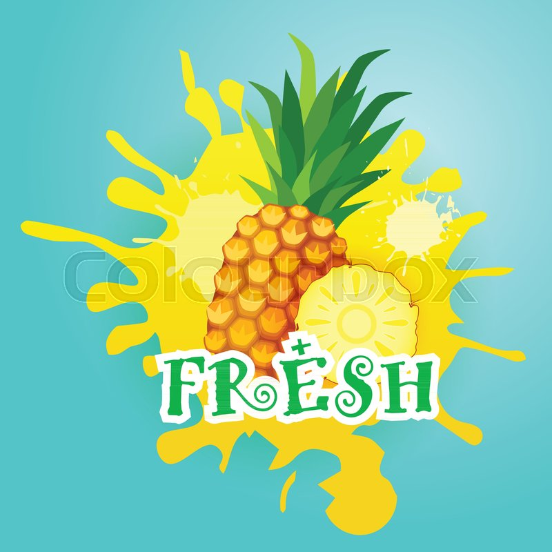 pineapple over paint splash background fresh juice logo natural food farm products vector illustration stock vector colourbox