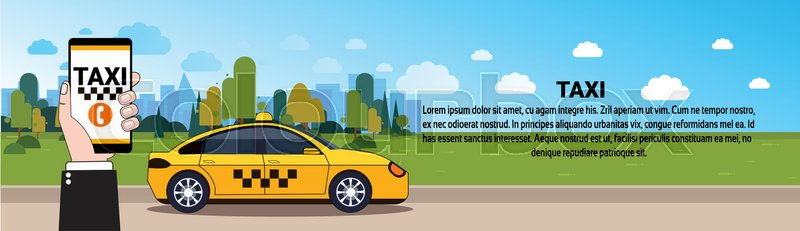 Mobile Taxi Service Hand Holding Smart     | Stock vector