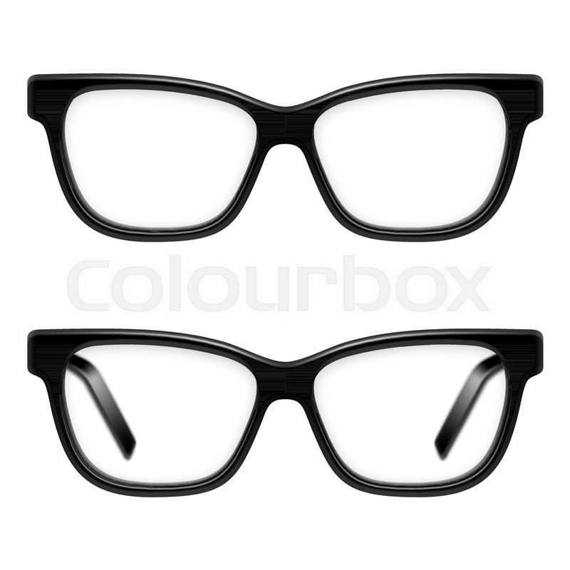Black framed glasses isolated on white background | Stock Vector ...