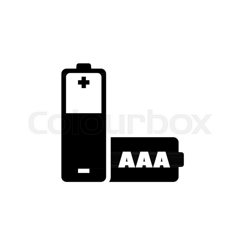 Aaa Battery Flat Vector Icon Simple Black Symbol On White