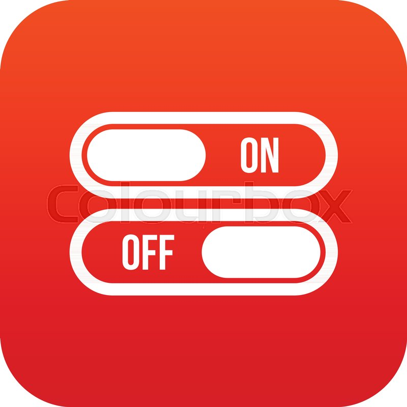 Button On And Off Icon Digital Red For Any Design Isolated On White