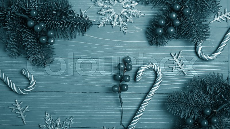 Christmas candy and treats on the table. Sweet gifts for childre, stock photo